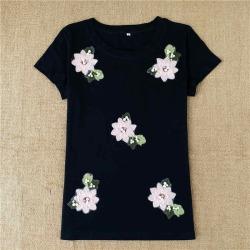 Costbuys  Summer women casual short-sleeve Bead Flower t shirt tee tops - Black / XL