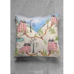Square Pillow - Pink Town in Black/Blue/Brown by VIDA Original Artist found on Bargain Bro India from SHOPVIDA for $55.00