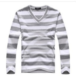 Costbuys  men's long-sleeved cotton stripes sweater fashion and pullover men of Wholesale - Gary / XL