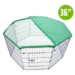 """8 Panel Foldable Pet Playpen 36"""" W/ Cover - Green"""