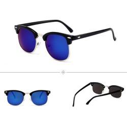 Costbuys  Half Plastic High Quality Men Sunglasses  Designer Sun Glasses Women Fashion Black Oval Frame UV400 Eyewear - blue / M