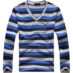 Costbuys  men's long-sleeved cotton stripes sweater fashion and pullover men of Wholesale - Navy and gray / L
