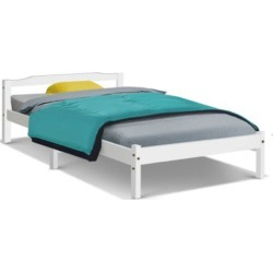 Single Size Wooden Bed Frame Mattress Base Timber Platform White found on Bargain Bro India from Simply Wholesale for $127.74