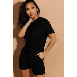 Black Drawstring Waist Relaxed Fit Playsuit found on Bargain Bro from SinglePrice for USD $12.21