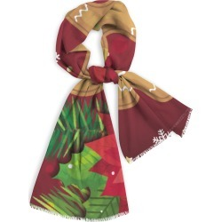 Natural Cotton Scarf - Gingerbread Man in Brown/Green/Red by Haris Kavalla Original Artist