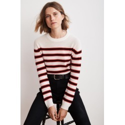 Carmel Multi Stripe Crew Neck Cashmere Sweater (M), Velvet by Graham & Spencer