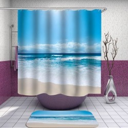 Gorgeous Blue Beach Day Shower Curtain found on Bargain Bro from Simply Wholesale for USD $23.61