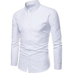 Costbuys  Spring Polka and Solid Man Casual Shirts Classic Men Dress Shirt Long Sleeve High Quality Fashion Clothes For Male - W