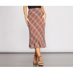 Plaid Chiffon Midi Skirt found on Bargain Bro Philippines from windsorstore.com for $36.90