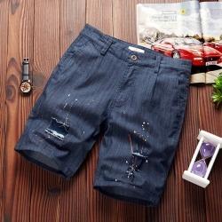 Costbuys  Mens shorts casual pure shorts men cotton fashion short male elastic trend short men - jeans blue / XL