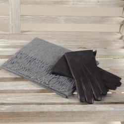 Men's Cashmere Scarf & Fur Lined Leather Gloves Set found on Bargain Bro UK from black.co.uk