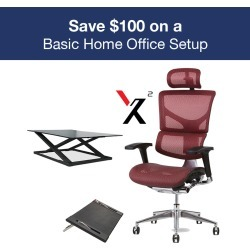 Basic Office Setup with X2 Executive Mesh Task Chair White K-Sport