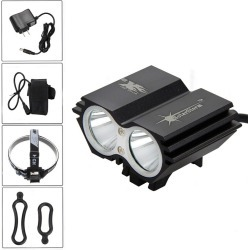 Costbuys  1600 Lm X2 led Bike Bicycle Light Lamp Headlight Rechargeable Flashlight 18650 Battery Accessories for bicycle - Purpl