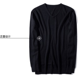 Costbuys  autumn and winter men's V-neck sweater 100% cotton fashion of the solid color fashion men sweater - 03 / M