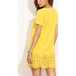 Costbuys  Women fashion elegant Party Work sexy yellow mini short runway spring summer hollow out dress - S
