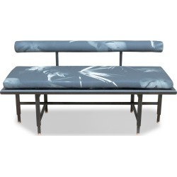 St. Charles Bench - Add Glass Insert / Full Upholstered Bench / Grey/Blue Tropical Fabric