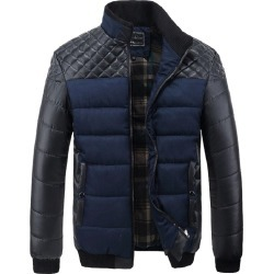 Costbuys  Men's Puffer Jacket Casual Warm Parka Men Winter Jacket Patchwork Pu Leather Coat Korean Male Clothes - Blue / L