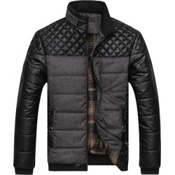 Costbuys  Men's Puffer Jacket Casual Warm Parka Men Winter Jacket Patchwork Pu Leather Coat Korean Male Clothes - Gray / 4XL