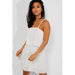 White Layered Pleated Cami Playsuit found on Bargain Bro from SinglePrice for USD $17.29
