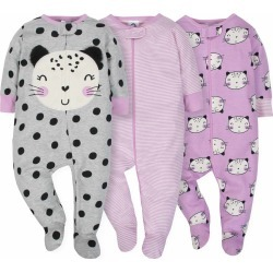 Limited Edition 3-Pack Girls Cat Sleep N' Play - Special Offer - 6-9M