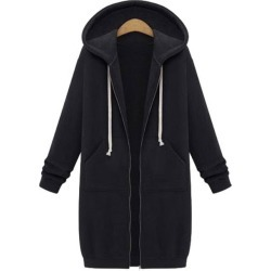 Costbuys  Autumn Winter Women Long Hooded Sweatshirt Coat Casual Pockets Zip Up Outerwear Hoodies Jacket - Black / 4XL