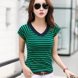 Costbuys  Striped T shirt V-Neck T Shirt Women Printed T-Shirt Tee Shirt Summer Tops Slim Casual - t shirt green / XXXL
