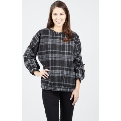 Checked Ruched Sleeve Top found on Bargain Bro UK from Izabel London UK