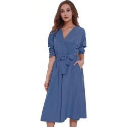 Costbuys Women Spring Autumn Velvet Windbreaker With Belt Long Velour Trench Coat Outerwear Pea Coat - Blue / L