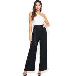Bebe Women's One Shoulder Wide Leg Jumpsuit, Size 0 in Egret/Black Polyester