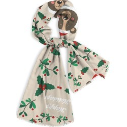 Natural Cotton Scarf - Merry Christmas in Brown/Green by Haris Kavalla Original Artist found on Bargain Bro India from SHOPVIDA for $40.00
