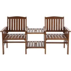 Garden Bench Love Seat Wooden Outdoor Furniture Brown