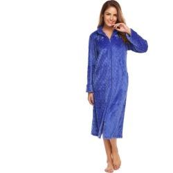 Costbuys  Lady Winter Long Bathrobe Plush Spa Bath Robe Women Large Size Flannel Zipper Dressing Gown Female Warm Sleepwear - Bl
