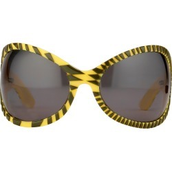 Jeremy Scott Wrap Sunglasses in Black and Yellow found on MODAPINS from Linda Farrow for USD $314.68