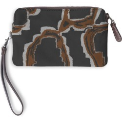 Leather Statement Clutch - Cool Abstracts By Cat #1 in Brown/Green by PRIDE Original Artist