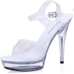 Sandals women Platform model T stage Shows Sexy High-heeled Shoes 10-20 cm High Transparent Waterproof Sandals - heel 13cm / 7
