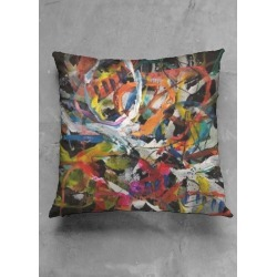 Square Pillow - Jazz With A Twist in Brown by VIDA Original Artist found on Bargain Bro India from SHOPVIDA for $35.00