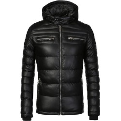 Costbuys  Winter Coat Men Warm Waterproof Parka Coffee PU Leather Jacket Casual Puffer Jacket and Coats Men's Clothing - Black /