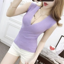 Costbuys  Tank Top 11 Colors Fashion Vest Casual Sleeveless Sexy V-Neck Women Summer Knitted Cotton Clothes - top purple / One S