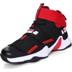 Costbuys  Men Basketball Shoes High Top Athletic Trainers Men Boys Comfortable Basketball Boots Black Red - hei hong / 4