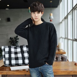Costbuys  Style men's fashion casual knitwear high quality fashion neck Pullover solid men long sleeved sweater M-2XL - Black /