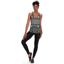Printed Racerback Top - Monochrome Striped Floral by VIDA Original Artist found on Bargain Bro India from SHOPVIDA for $45.00