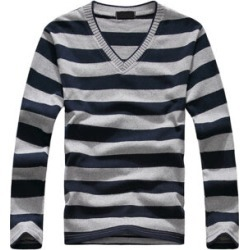 Costbuys  men's long-sleeved cotton stripes sweater fashion and pullover men of Wholesale - Nvay and gray Stripe / XL