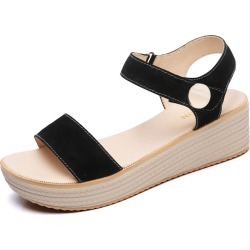 Costbuys  Sandals Women Summer Suede Leather Strap Sandals Shoes Female Sandals Espadrilles wedge Women Low Heels Sandals Gladia