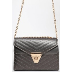 Gold Chain Strap Quilted SIlver Box Handbag