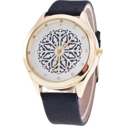 Costbuys  Hollow out flower dial ladies Casual Watch fashion Rhinestone Women Dress Watch Leather Quartz Wristwatch clock hours