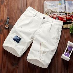 Costbuys  Mens shorts casual pure shorts men cotton fashion short male elastic trend short men - white / XXL