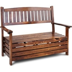 Gardeon Outdoor Storage Bench Box Wooden Garden Chair 2 Seat Timber