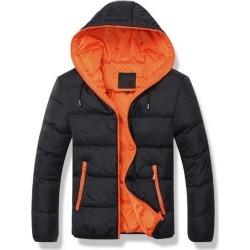 Costbuys  Winter Coat Men Casual Hooded Patchwork Cotton Padding Parka Men Clothing Winter Jacket Men - black orange / L