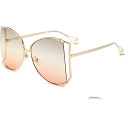 Costbuys  Metal Square Gradient Sunglasses Men Women Pearl Decoration Glasses Designer Fashion Male Female Shades - C6 gold oran