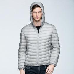 Costbuys  White Duck Down Jacket Men Autumn Winter Warm Coat Men's Light Thin  Male Hooded Jacket - Gray / S